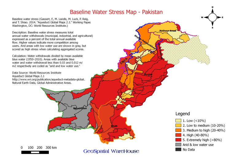 Baseline Water Stress Map Pakistan Geospatialwarehouse